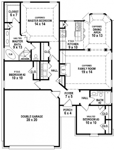Marvelous 2 Bedroom 2 Bath House Plans Glitzdesign 3bedroom 2bath House Plans Images