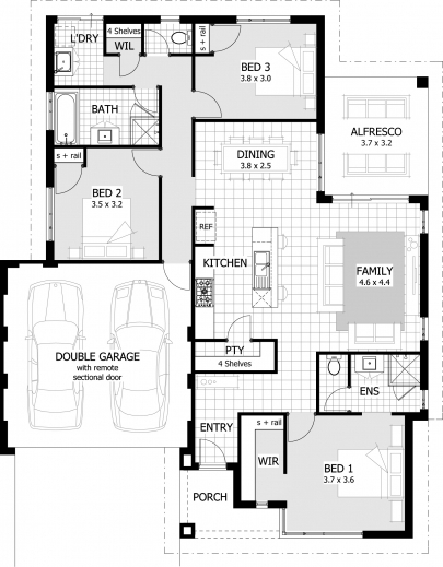 Outstanding 1305 Square Feet 3 Bedrooms 2 Batrooms 2 Parking Space On 1 Levels 3bedroom House Plan Images