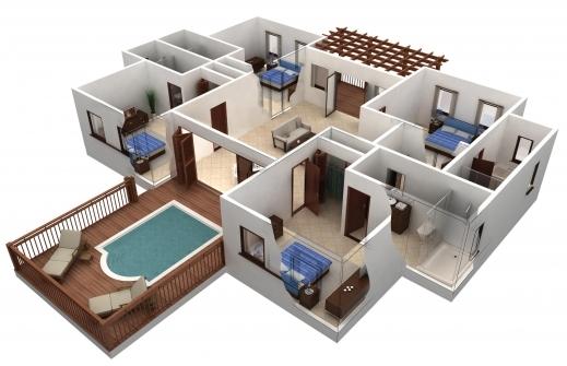 Outstanding 25 More 3 Bedroom 3d Floor Plans 9 Loversiq Free 3d 3 Bedroom House Plans Photos