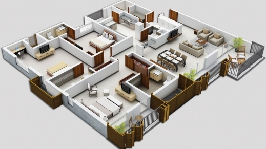 Outstanding 4 Bedroom Apartmenthouse Plans 3d House Plan 3 Apartment La 3d 4 Bedroom House Plans Pic