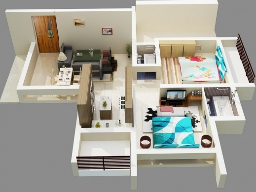 Outstanding 50 3d Floor Plans Lay Out Designs For 2 Bedroom House Or Apartment 2bedroom House Floor Plan In 3D Image
