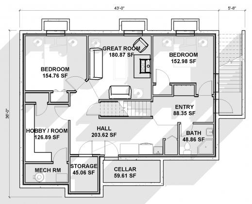 Outstanding Alternate Basement Floor Plan 1st Level 3 Bedroom House Plan With House Basement Plans Picture