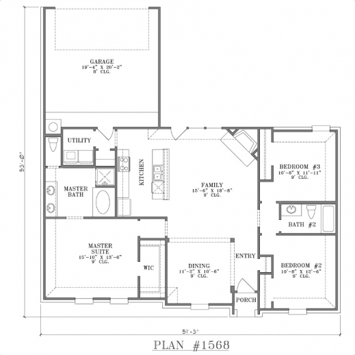 Best one story cottage floor plans home plans with open for Most popular one story house plans
