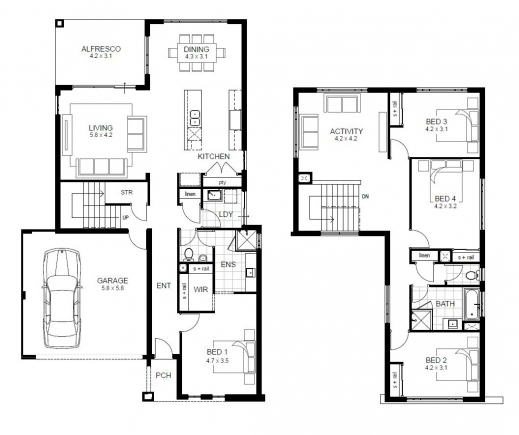 Outstanding Stylish Modern 4 Bedroom House Plans Htm With 4 Bedroom House Modern 4 Bedroom Floor Plans Photo