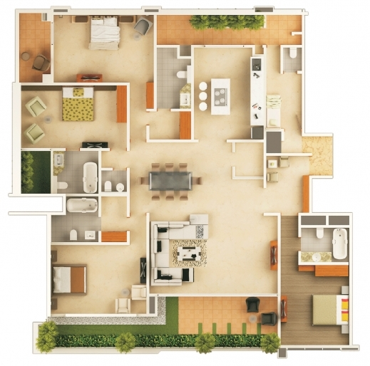 Remarkable 1000 Images About 3d Floor Plans On Pinterest Bedroom Apartment House Floor Plan In 2D Pics