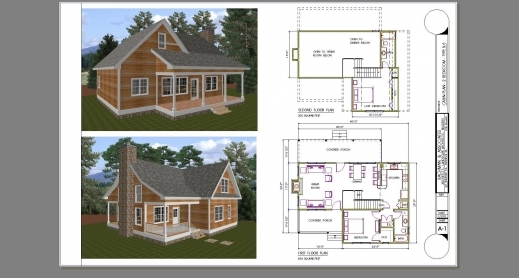 Remarkable 2 bedroom log cabin plans with loft 24x36 floor Two story house plans with loft