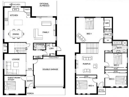 Remarkable 2 Storey House Floor Plan Autocad Lotusbleudesignorg Houseroom Double Storey Floor Plans Image