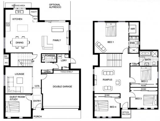 Remarkable 2 Storey House Floor Plan Autocad Lotusbleudesignorg Houseroom Double Storey Floor Plans Image