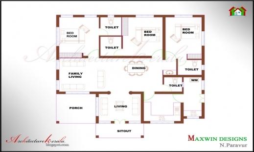 Remarkable 3 Bedroom House Plans In Kerala Single Floor Bedroom Decorating Simple 3 Bedroom House Plans Single Floor Picture