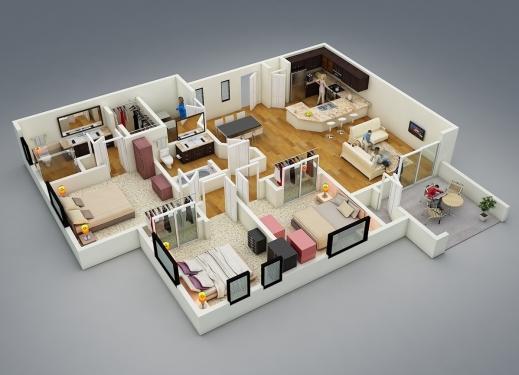 Remarkable 3d Floor Plans 4 Bedrooms Flooring House 4 Bedrooms 3D Plan Image