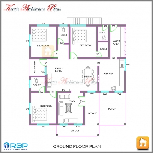 Single floor 3 bedroom house plan kerala house floor plans for Kerala house plan 3 bedroom