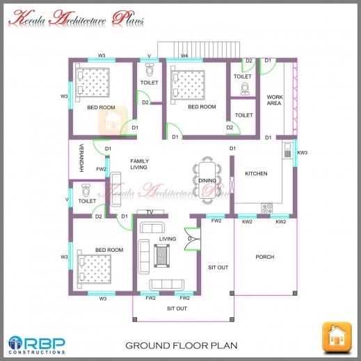 Remarkable Kerala Style Single Storied House Plan And Its Elevation Single Floor 3 Bedroom House Plan Kerala Pics