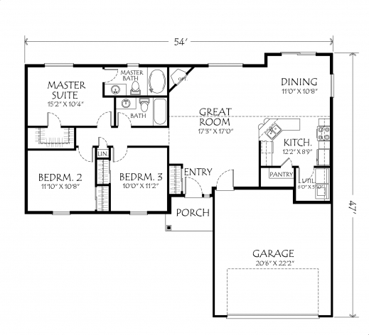 Simple 3 bedroom house plans single floor house floor plans for One level house plans with porch