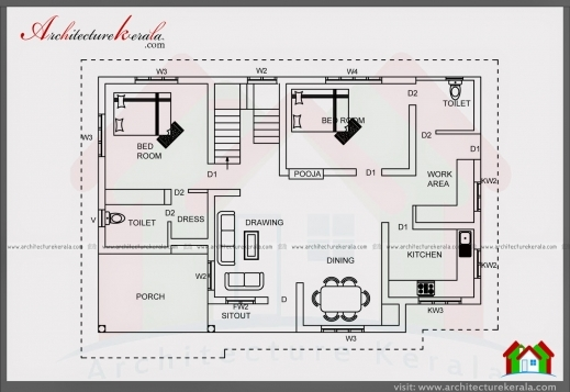 Stunning 2 Bedroom House Plan And Elevation In 700 Sqft Architecture Kerala Kerala House Plans 700square Feet Image