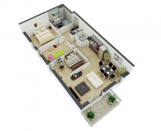 Stunning 2 Bedroom House Plans With Open Floor Plan Nz Arts 2bedroom House Floor Plan In 3D Photos