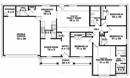 Stunning simple 4 bedroom house plans planskill four for Simple 4 bedroom house plans