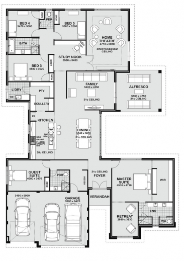 Stylish 1000 Images About Floor Plans On Pinterest Family Homes Green Five Bedroom Building Plan Picture