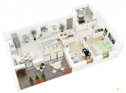 Stylish 20 More 2 Bedroom 3d Floor Plans Home Decoratings And Diy 2 Bedroom 3d Floor Plan Photos