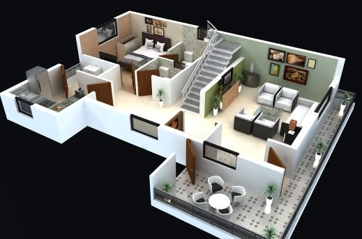 Stylish 25 More 3 Bedroom 3d Floor Plans House Plans House And Building 2 Floor 3D House Design Plan Photo