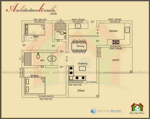 Stylish Below 1000 Square Feet House Plan And Elevation Architecture Kerala 1000Sqft House Plan Image Pics