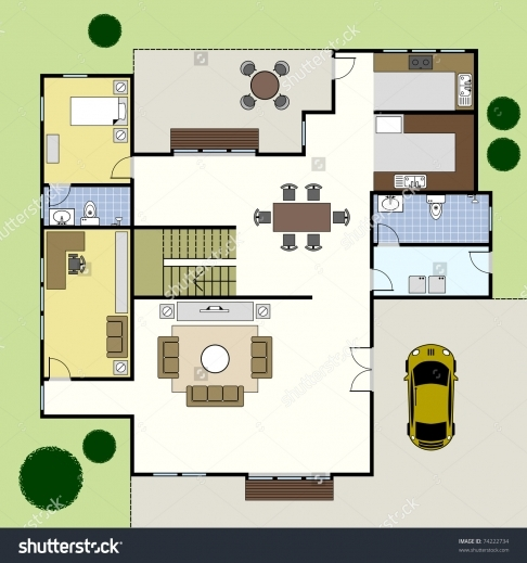 Stylish Ground Floor Plan Floorplan House Home Stock Vector 74222734 Plan House Ground Floor Picture