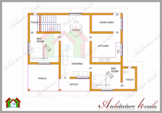 Wonderful 1200 Square Feet Two Bedroom House Plan And Elevation Two Bedroom House Plan With Elevation Image