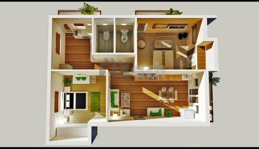 Wonderful 2 Bedroom House Floor Plans 3d 3d Floor Plan Of A 2 Bedroom 2bedroom House Floor Plan In 3D Photo