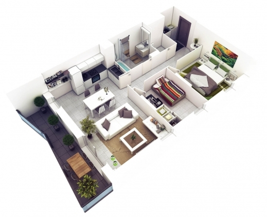 Wonderful 20 More 2 Bedroom 3d Floor Plans Home Decoratings And Diy 2 Bedroom 3d Floor Plan Picture