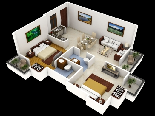 Wonderful 25 More 2 Bedroom 3d Floor Plans 4 Cubtab House 4 Bedrooms 3D Plan Photos