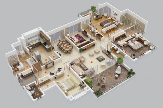 4 Bedroom House Plan. Wonderful 4 Bedroom Apartment 3d Layout Apartmenthouse Plans  House Image