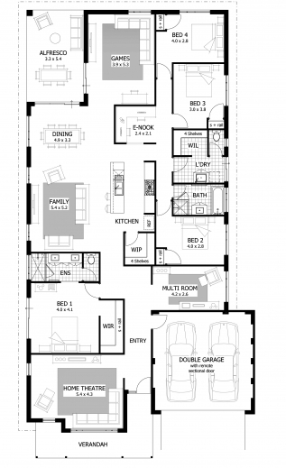 Wonderful 4 Bedroom House Plans Glitzdesign House Plans 4 Bed Rooms Photos