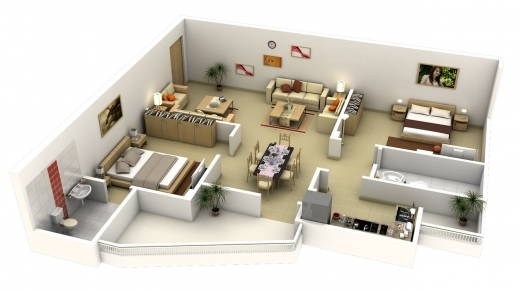 Wonderful 50 3d Floor Plans Lay Out Designs For 2 Bedroom House Or 2bedroom House Floor Plan In 3D Photo