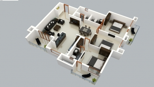 ... Wonderful Architecture Kerala 2500 Sq Ft 3 Bedroom House Plan With  Pooja Free 3d 3 Bedroom ...