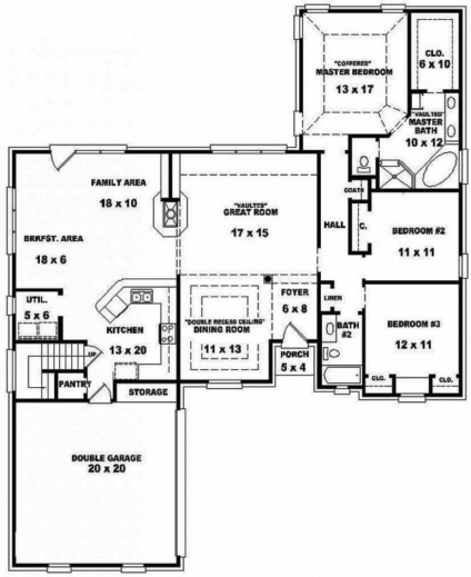 Small 3 Bedroom Open Floor Plan: Remarkable One Story House Plans With Open Floor Design