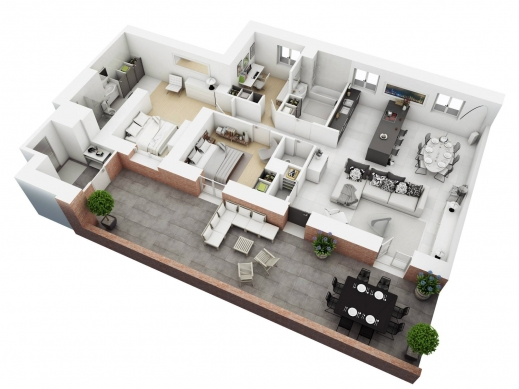 Wonderful Free 3 Bedrooms House Design And Lay Out 3bedroom House Plans In 3D Image