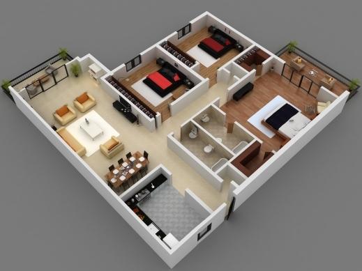 Amazing 25 more 3 bedroom 3d floor plans house plan Amazing 3d floor design