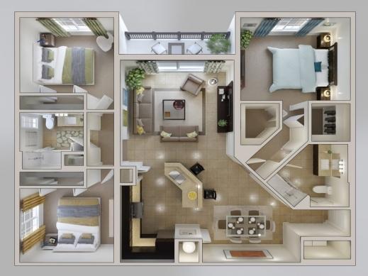 Amazing 3d house plan 3 bedroom apartment floor plans Amazing 3d floor design
