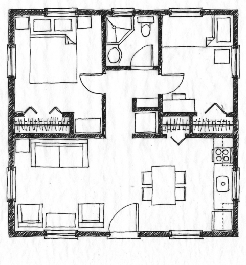 Unique 2 bedroom house plans house floor plans for Cheap house floor plans