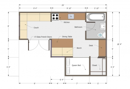 Amazing Small L Shaped House 350 Sq Ft Floor Plan Titus Pinterest L Design House Plans Photo