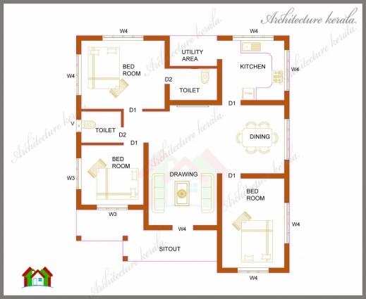 Amazing Three Bedrooms In 1200 Square Feet Kerala House Plan Kerala House Plans Image
