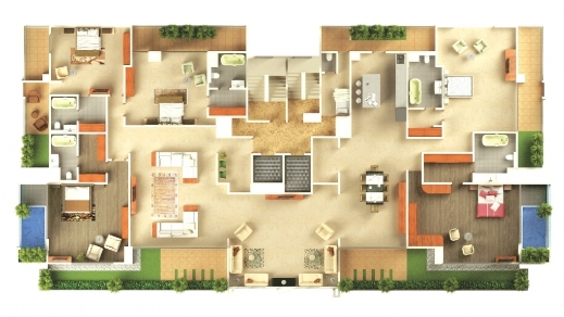 Awesome 1000 Images About 3d House Plans On Pinterest Bedroom Apartment 5  Bedroom 3D House Plans Pictures