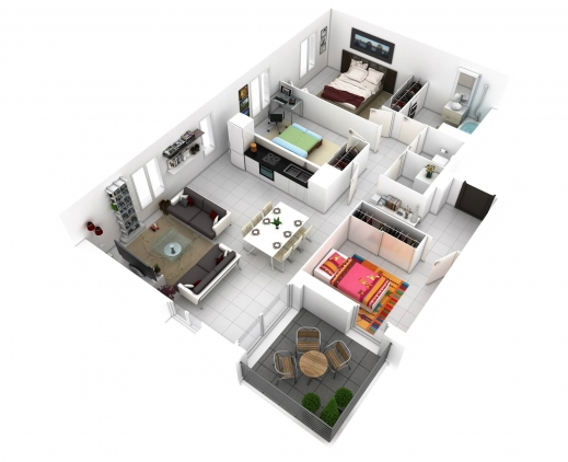 Awesome 13 More 3 Bedroom 3d Floor Plans Amazing Architecture Magazine 3d 3 Bedroom House Plans With Photos Pictures
