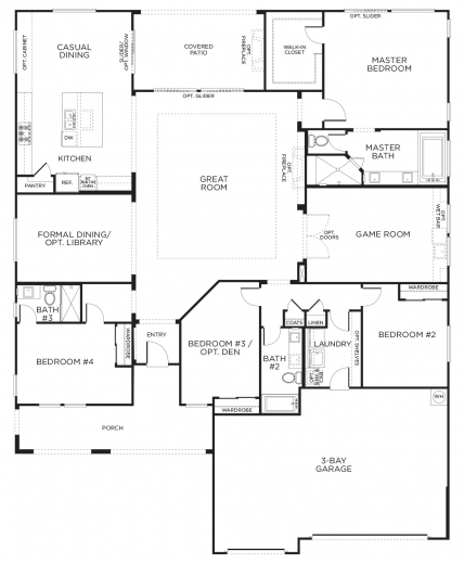 Best 17 best images about the build on pinterest 3 car Single story floor plans with 3 car garage