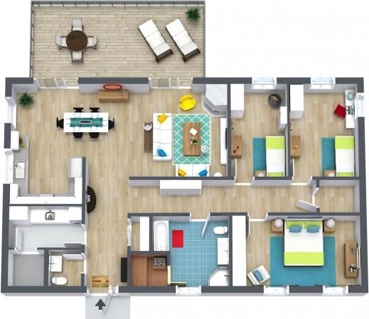 Best 3 Bedroom Floor Plans Roomsketcher 3 Bedroom Plans