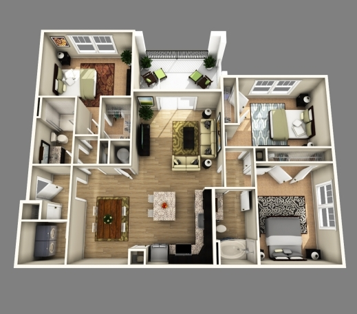 Best 3d Open Floor Plan 3 Bedroom 2 Bathroom Google Search