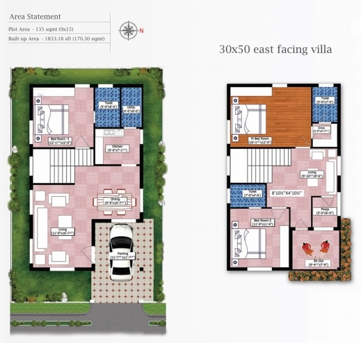 Fantastic 30 50 House Plans North Facing House Plan 30×50 3 Bhk House Plan Pics