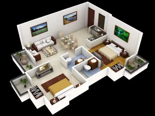 Fantastic Home Plans 3d Decor Ideas 4 Bedroom House Floor Plans 3d Pics