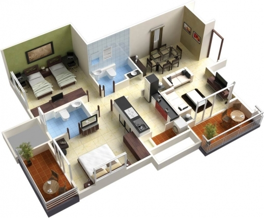 Fascinating 25 More 3 Bedroom 3d Floor Plans Simple Free House Plan Maker L 4 Bedroom House Floor Plans 3d Image