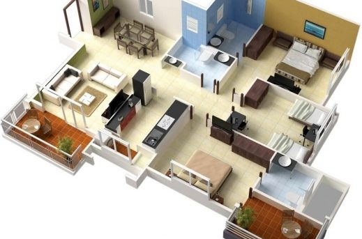 Gorgeous 17 Best Images About 50 Three 3 Bedroom Apartmenthouse Plans On Great Architectural Designs House Plans 3d 3bedroom Image