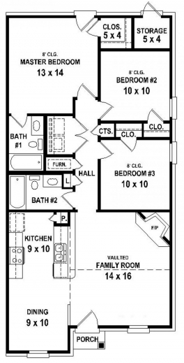Gorgeous 2 Bath 3 Bedroom House Plans Planskill Small 3 Bedroom 2 Bath House Plans Picture